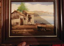 لوحة فنية قديمة زيتية على القماش
