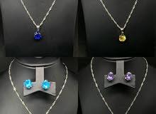 طقم أحجار كريمة فضة gemstones set (silver)