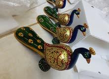 طقم أربعه مجسمات طاووس خشب ملون جديد من الهند