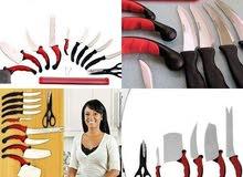 طقم سكاكين المطبخ مكون من 10 قطع باشكال مختلفه
