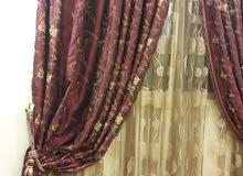 ستارة من قماش الاورجنزا العنابي والشيفون الذهبي المنقوش تصلح للمجالس والصالات ال