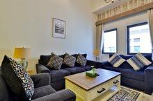 دبي الجداف غرفتين وصالة مفروشة سوبر لوكس (فندقي)- مع بلكونة ايجار شهري شامل
