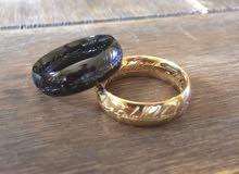 خاتم  ستانليس ذهبي او اسود  جديد للبيع new GOLD or black Titanium Steel
