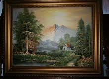 لوحة فنية قديمة زيتية