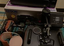 مكينة للطباعة حرارية 8*1 قطع مكبس للتشيرتات والاكواب والدروع .. معها طابعة ايبسون شبه جديد