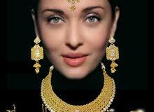 أطقم مجوهرات تقليدية (اكسسوارات) هندية مطلية بالذهب