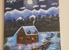 لوحة بيت ثلجي .. الوان اكريليك