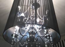Black 1 Ceiling Chandelier Fanoos (8 Bulbs) & 2 Big Table Lamps (5 Bulbs) – High QualitY