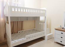 2 سرير خشب دورين جديد اللون ابيض سعر الواحد 1500