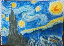 لوحة starry night رسم يدوي