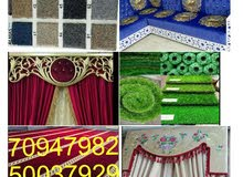carpet.curtains. wallpaper. barkeia. rolar.vatical. sofa making and refaring