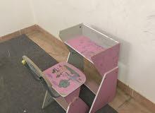عربة اطفال + سرير رضع + مكتب وكرسى اطفال