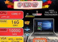 HP ENVY M7 CORE I7/ رمات 16 جيجا +فيجا 10جيجا .شاشه 17.3 بوصه تاتش اسكرين