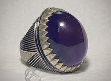 للبيع خاتم فضه بحجر الجمشت قمة بالفخامة