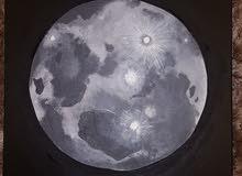 Self-made acrylic moon painting