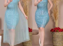 فستان سهرة تول قطعتين يوجد توصيل