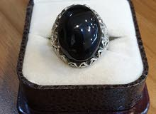 حجر اليسر الطبيعي الاصلي  مصاغ في خاتم فضة عيار 925 بصياغة رووعة مميزة جدا