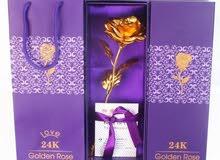 وردة مطليه طلاء ذهبي 24K