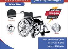 كرسي متحرك خفيف الوزن صناعة تايوانية مقاس 22 انش لذوي الإعاقة وكبار السن