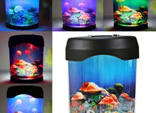 Retro Aquatic Mini Jelly Fish Tank LED Water Lamp Mood Night Light Gift