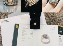 للبيع خاتم الماس ابيض جديد بشهادة