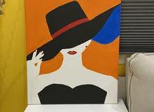 لوحة كبيرة  لفتاه بالالون قياس (60*50)