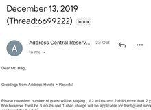 one night Reservation in Address Dubai Marina hotel