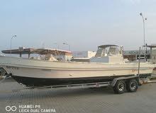 قارب 28 مسطح مصنع سندباد نظيف فيه محالق 2 وثلاجه كبيرة ثابته بدون مكائن