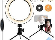 رينغ لايت 8انش (قياس 12 سم ) مع حمالة  LED Ring Light