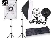 Photography 50x70CM Lighting Four Lamp Softbox Kit With E27 Base Hold
