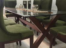 طاولة سفرة سكيوريت وجه زجاج عشرة مقاعد