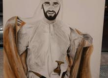 للبيع لوحة للشيخ زايد رحمه الله من رسمي