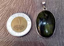 حجر كريم من الزبرجد الاصلي باتار فضه 925 صياغه يدوي