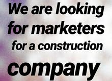 We are looking for marketers for a construction company