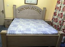used bed with mattress(200x200 size) and two bedside tables for sale