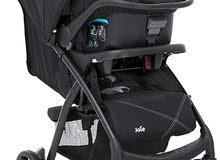 للبيع ماركة Joie البريطانية  سرير 3 قطع + كرسي سيارة + عرباية
