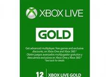 بطاقة لايف غولد gold live xbox
