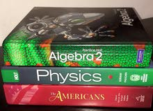 Algebra 2, Physics, American History Textbooks