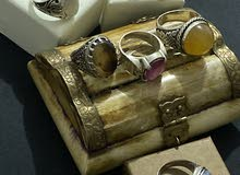 تصفيه علي مجموعه من الخواتم من الفضه والأحجار الطبيعية الأسعار من 80 درهم ال 125
