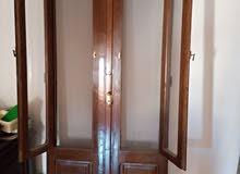 شباك و 2 باب بلكونة خشب بالزجاج وسلك الناموس