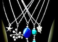 تعليقة حجر رخامي اخضر وازرق -متجر روعة للمجوهرات طرابلس ليبيا