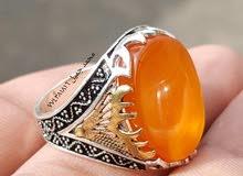 خاتم فضة مع العقيق اليماني