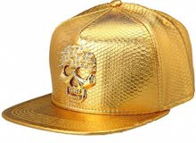 golden  leather skull cap