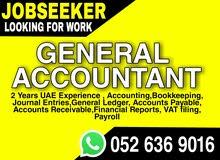Iam Looking For Job General Accountan ,Dubai t With 2 UAE Experience