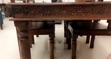 طاولة سفرة مع كراسي خشب اصلي solid wood
