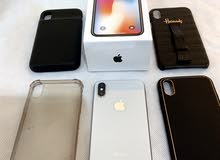 iPhone X with 7 cases with cover with battery and all accessories ابا ايفون اكس