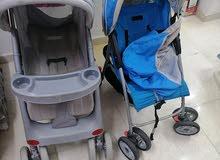 2 عربة طغل+ كرسي هزاز+ سريرطفل