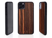 IPHONE CASE - WOOD WITH PLASTIC BASE - EBONY