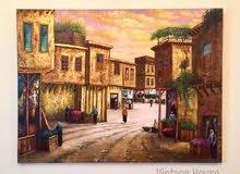 لوحة فنية فخمة بالألوان الزيتية و ورق الذهب الخام
