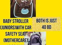 Juniors Stroller and Baby car seat ( mothercare)